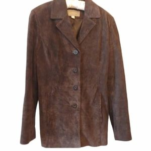Croft & Barrow Brown Suede Leather Jacket - Small